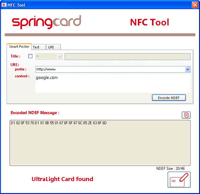 Create and read NFC tags with SpringCard NFC Tool and NFC