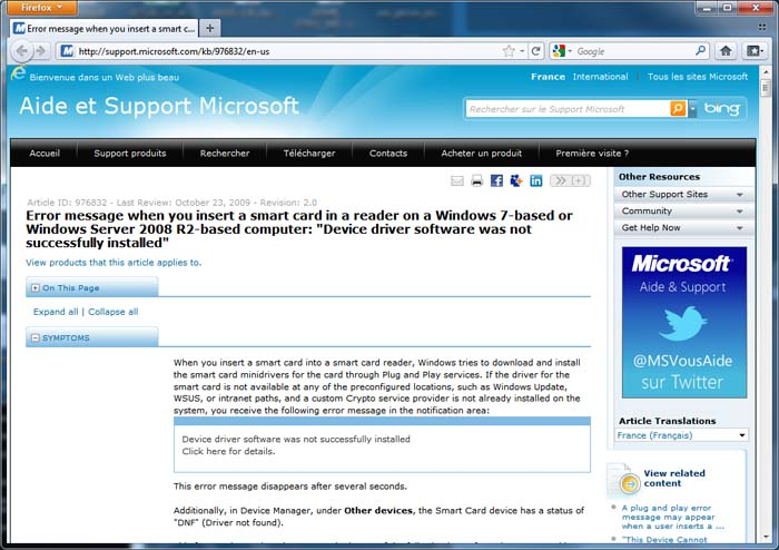 Windows 7 complains on missing driver for smartcards – a