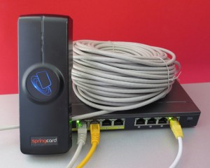 The FunkyGate-IP+POE eases the job of wiring the building to before installing the access control system. With only a single Cat5e right to the door, the reader is operational as soon as it is plugged to the network.