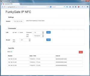 FunkyGate-IP NFC HTTP access (REST) demo-page
